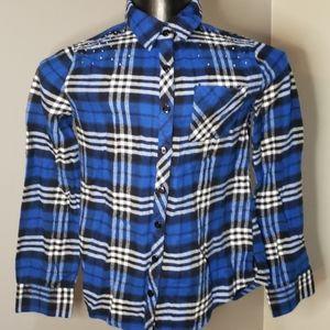 Justice blue plaid shirt